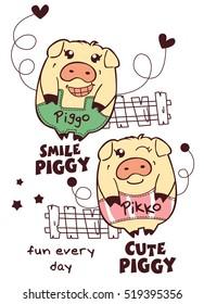 cute pig doodle cartoon