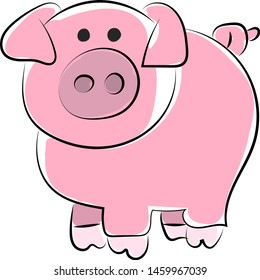Cute pig drawing, illustration, vector on white background.
