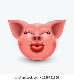 Cute pig emoticon, kissing emoji - vector illustration