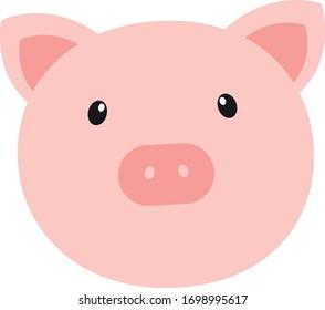 Cute pig face, vector illustration