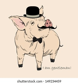 Cute Pig Gentleman in Bowler Hat and Mustache, Piggy Hipster, Retro Look, Vector Illustration