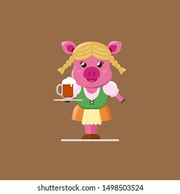 CUTE PIG WITH GERMANY COSTUME BRINGING A MUG OF BEER OKTOBERFEST PARTY FLAT ILLUSTRATION