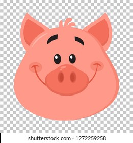 Cute Pig Head Cartoon Character Face Portrait. Vector Illustration Flat Design Isolated On Transparent Background