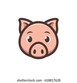 Cute Pig icon. Piggy logo