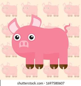 cute pig illustration drawn as vector, fabric design, funny cartoon, wallpaper design and  T-shirt