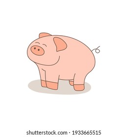 Cute pig isolated on white background. Vector illustration.