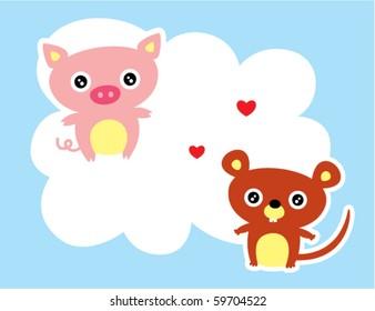 cute pig love rat
