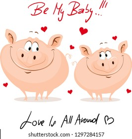 Cute Pig In Love  - Valentines Day Vector Illustration