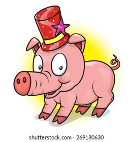 cute  pig  with magic hat , vector