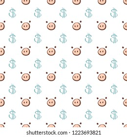 Cute pig nose and dollar sign seamless pattern isolated on white background, vector
