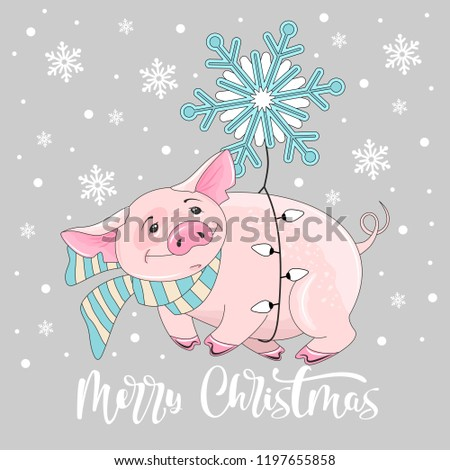 cute pig on christmas and new year background vector illustration