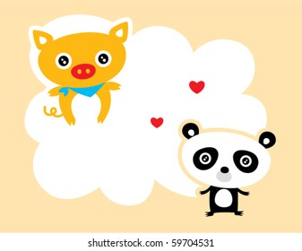 cute pig and panda love