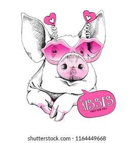 Cute Pig in a pink Lips Sunglasses. Kisses free for you - lettering quote. Humor Card of a Valentine's day, t-shirt composition, hand drawn style print. Vector illustration.