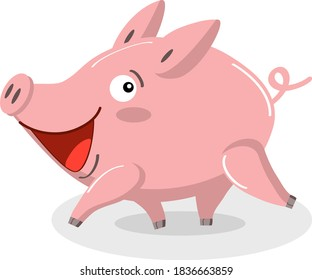 Cute pig is running. Funny cartoon character, farm animal in flat style, vector image isolated on white background