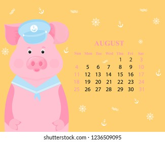 ee471a28 Cute pig in a sailor suit visor and collar. Monthly calendar for August  2019 from