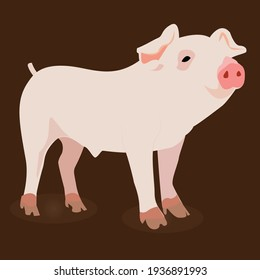 Cute pig simple Vector Illustration