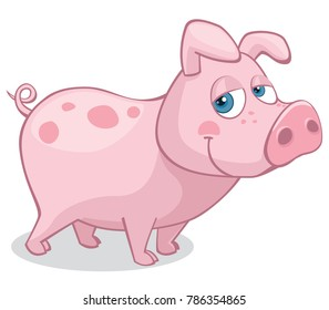 Cute Pig Standing on All Four Looking at the Viewer Cartoon Style Vector Illustration Isolated on White