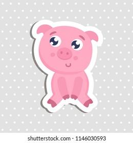 Cute pig sticker vector illustration. Flat design.