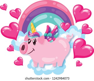 cute pig unicorn with rainbow and hearts isolated on white. Baby print. cartoon hand drawn caracter. VECTOR illustration.