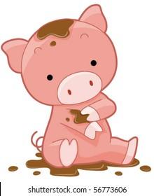 Cute Pig - Vector
