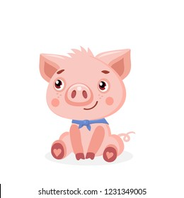 Cute Pig Vector Illustration. Cute Baby Pig Vector Illustration Isolated On White Background. Cartoon Animal Character.