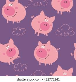 Cute pig vector print