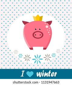 Cute pig. Winter card. King