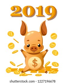 Cute piggy bank. Cartoon character design. Little pig play with gold coin. Falling coins. Flat vector illustration on white background. 2019 year.