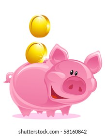 Cute Piggy Bank With Gold Coins