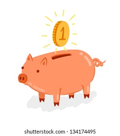 Cute piggy bank with shiny coin vector illustration