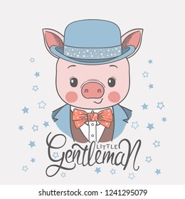 Cute piggy boy face with bowler hat, bow tie. Little Gentleman slogan. Vector illustration design for t shirt graphics, fashion prints, slogan tees, posters and other uses