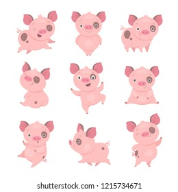 Cute piggy collection. Vector illustration of funny cartoon pink piggy in different poses. Isolated on white.