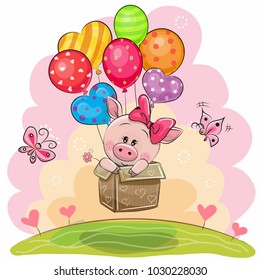 Cute Piggy girl in the box is flying on balloons