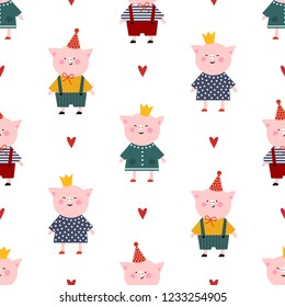 Cute piggy girl and boy on white background seamless pattern. Child drawing style baby animal illustration.  Funny piglet card. Design for textile, fabric, decor.
