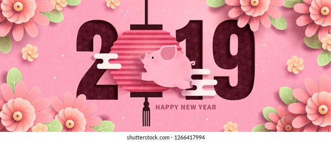 Cute piggy jumping through 2019 new year banner, pink flowers frame