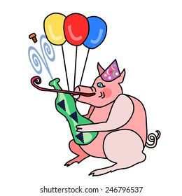 Cute piggy in party cap opens a bottle of sparkling wine