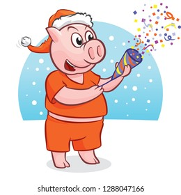 Cute piggy in Santa Claus's hat with petard, a symbol of 2019 year for your postcard or poster. Gift. Vector illustration