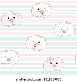 Cute piggy seamless pattern. Seamless pattern can be used for wallpapers, pattern fills, surface textures