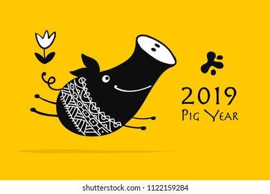 Cute piggy silhouette, symbol of 2019 year for your design. Vector illustration