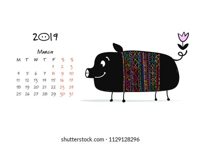Cute piggy silhouette, symbol of 2019 year for your design