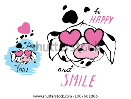 Cute piggy. Vector illustration EPS file by layers. Graphics can be used for postcards, posters, invitations, websites and other products.