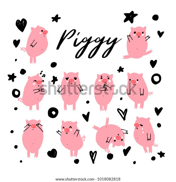 Cute Piggy Wiggy Vector Character Set Stock Vector (Royalty