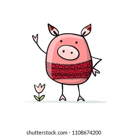 Cute piggy for your design