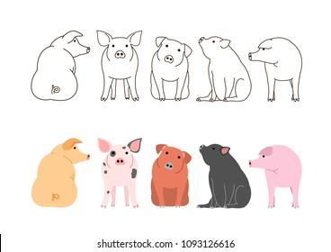 cute pigs border set