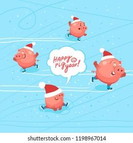 "Cute pigs celebrate happy new year 2019. Ice skating party of funny pigs. Hand drawn Lettering ""Happy Pig Year"". Vector flat illustration"