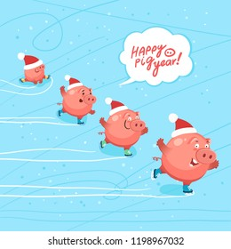 Cute pigs celebrate happy new year 2019. Ice skating party of funny pigs. Hand drawn Lettering Happy Pig Year. Vector illustration
