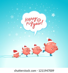 "Cute pigs celebrate happy new year 2019. Ice skating party of funny pigs. Hand drawn lettering ""Happy pig year"". Vector illustration"