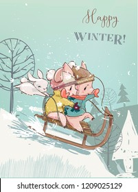 Cute pigs on sleigh