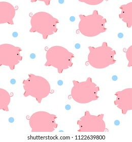 Cute pigs seamless pattern. Funny seamless pattern with cute piglets. Chinese Zodiac pig , cartoon seamless pattern background