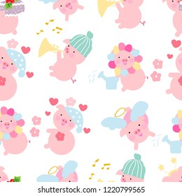 Cute pig.Seamless pattern.